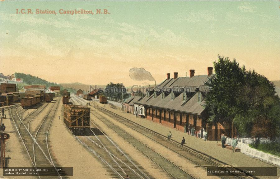 Postcard: Intercolonial Railway Station, Campbellton, New Brunswick