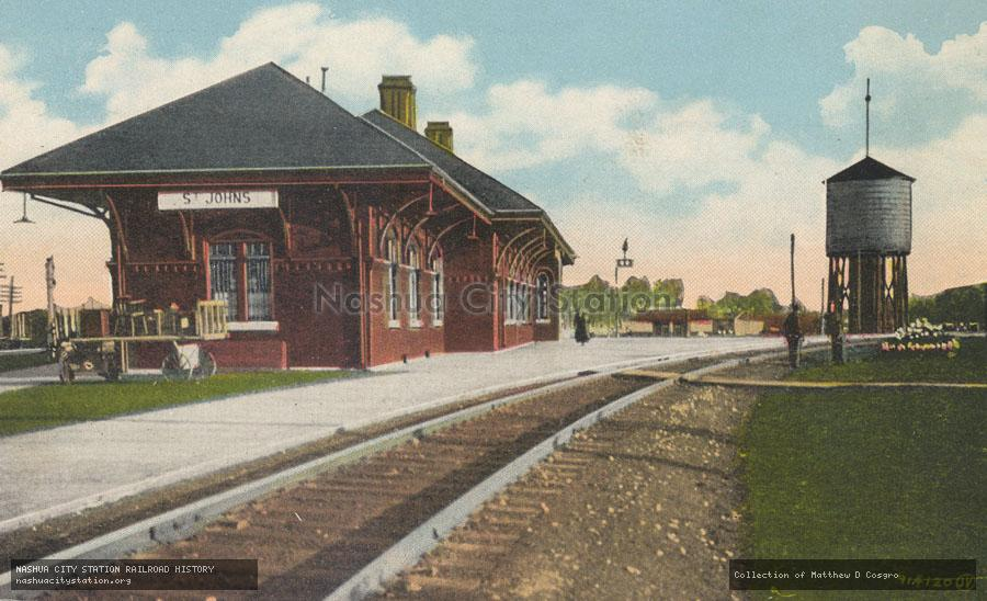 Postcard: St. Johns, Quebec, Canada, Canadian National Railway Station