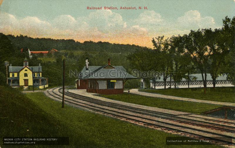 Postcard: Railroad Station, Ashuelot, N.H.