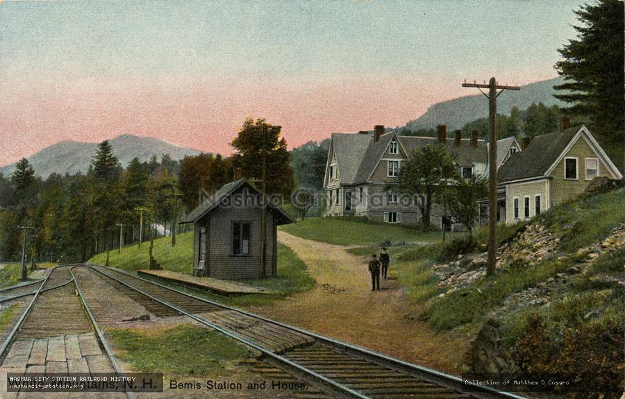 Postcard: White Mountains, N.H. Bemis Station and House
