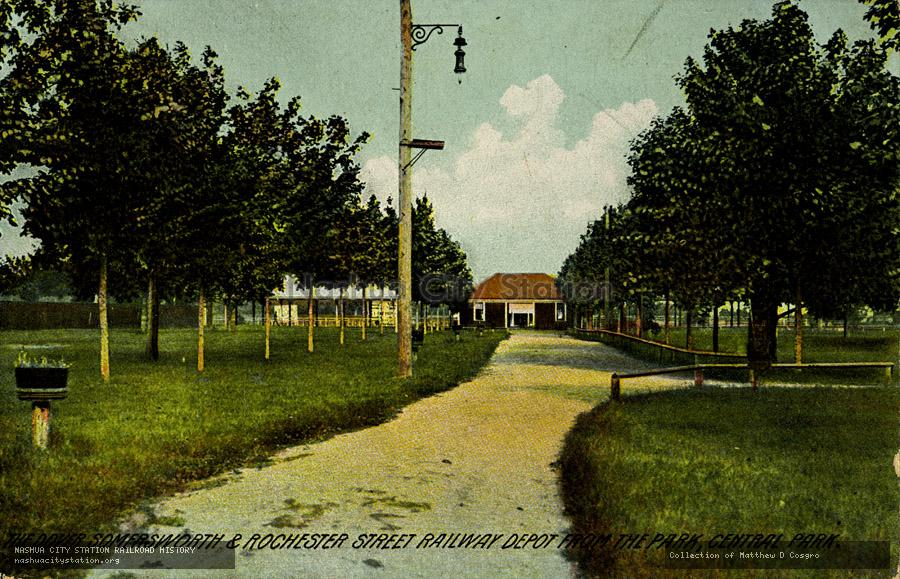 Postcard: The Dover, Somersworth & Rochester Street Railway Depot from the Park, Central Park