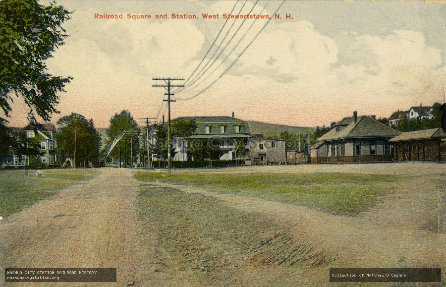 Postcard: Railroad Square and Station, West Stewartstown, N.H.
