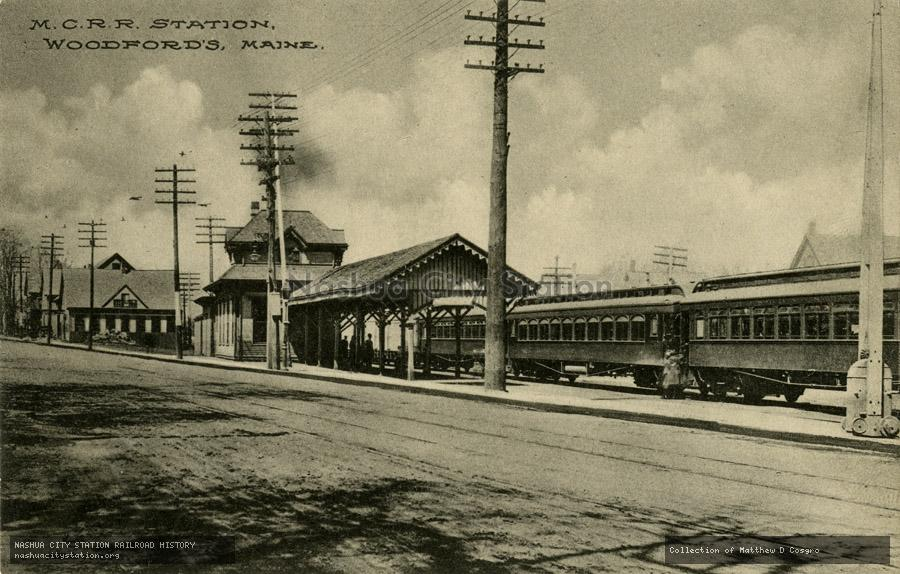 Postcard: Maine Central Railroad Station, Woodford
