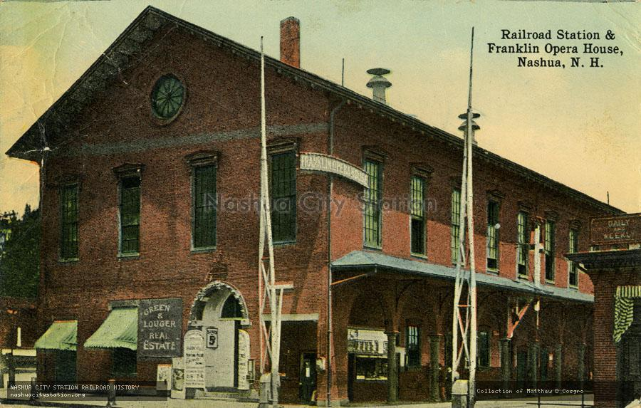 Postcard: Railroad Station & Franklin Opera House, Nashua, N.H.
