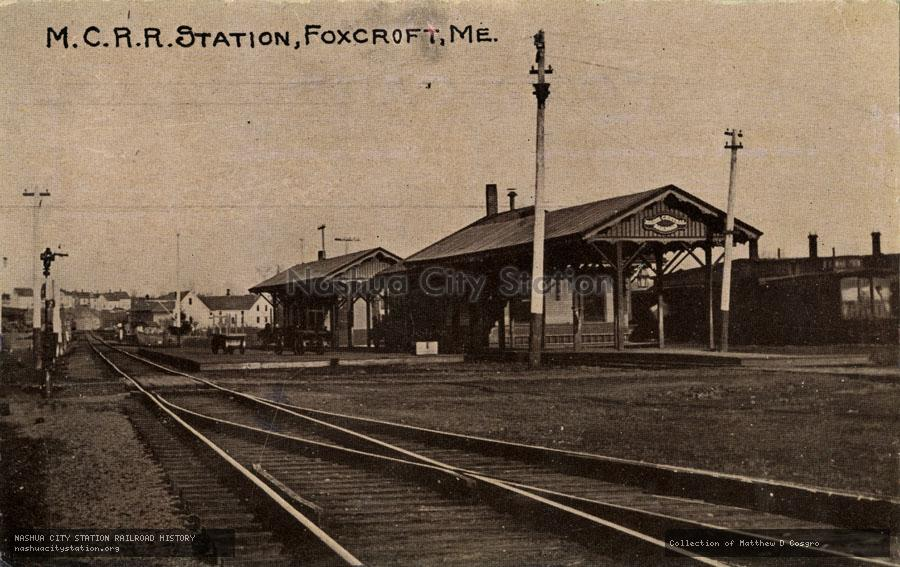 Postcard: Maine Central Railroad Station, Foxcroft, Maine