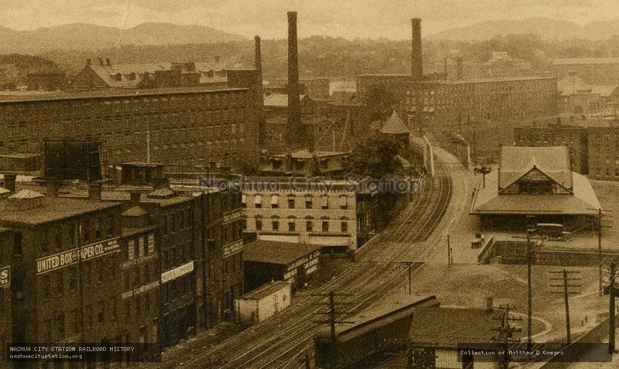 Postcard: Railroad Station and Mt. Holyoke, Holyoke, Massachusetts