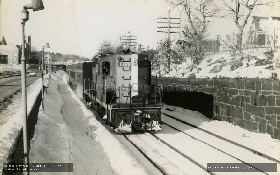 Postcard: Boston & Maine Railroad #1728 leads an MBTA commuter train at Newtonville, Massachusetts