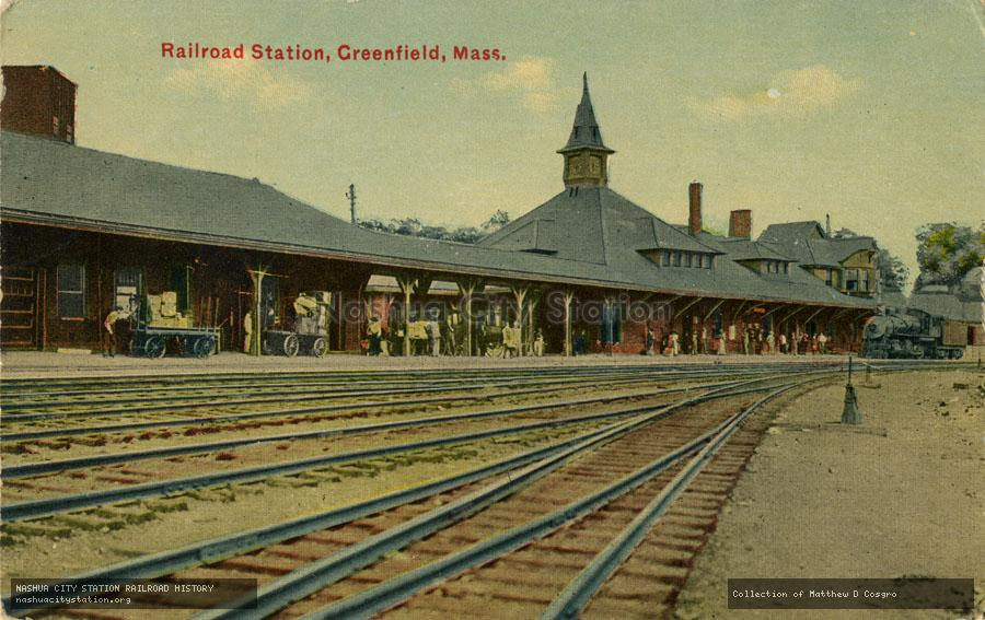 Postcard: Railroad Station, Greenfield, Massachusetts