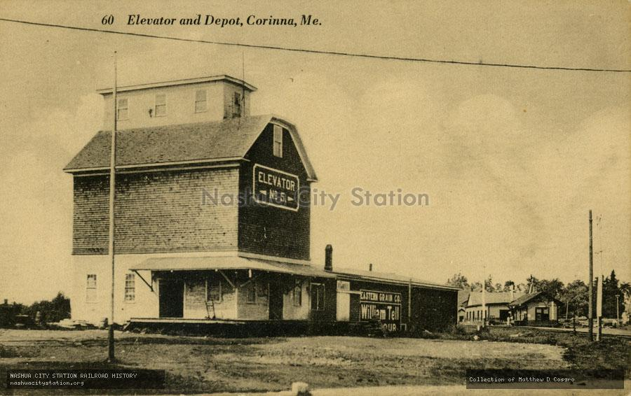 Postcard: Elevator and Depot, Corinna, Maine