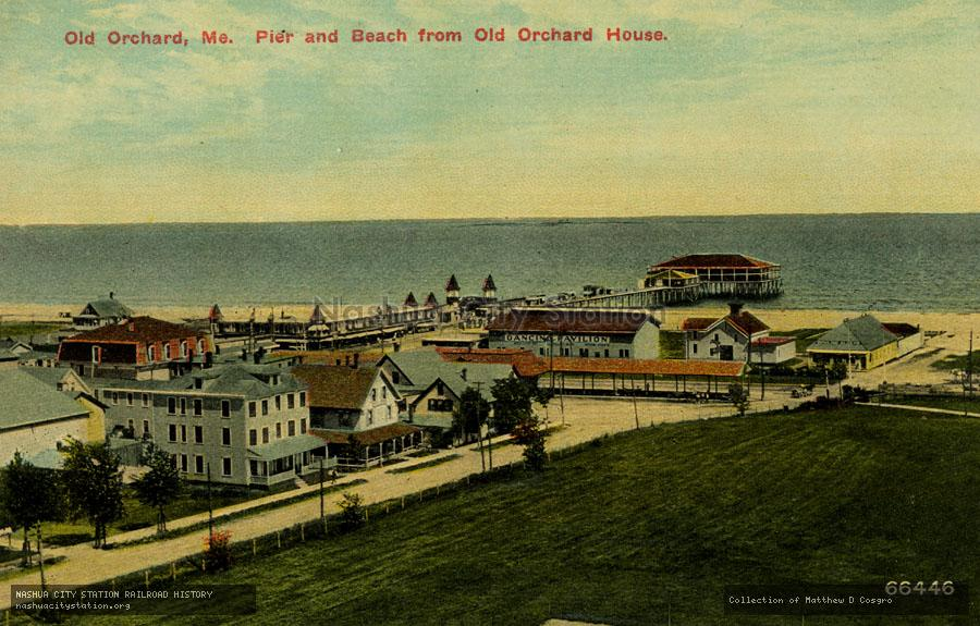 Postcard: Old Orchard, Maine, Pier and Beach from Old Orchard House.