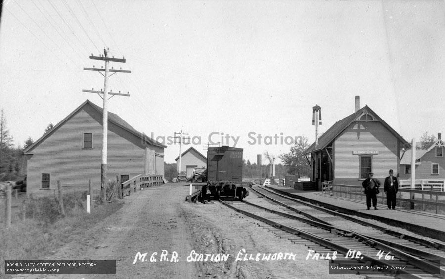 Postcard: Maine Central Railroad Station, Ellsworth Falls, Maine