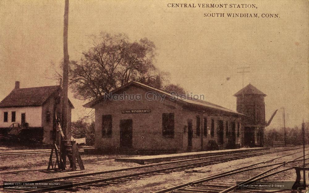 Postcard: Central Vermont Station, South Windham, Connecticut