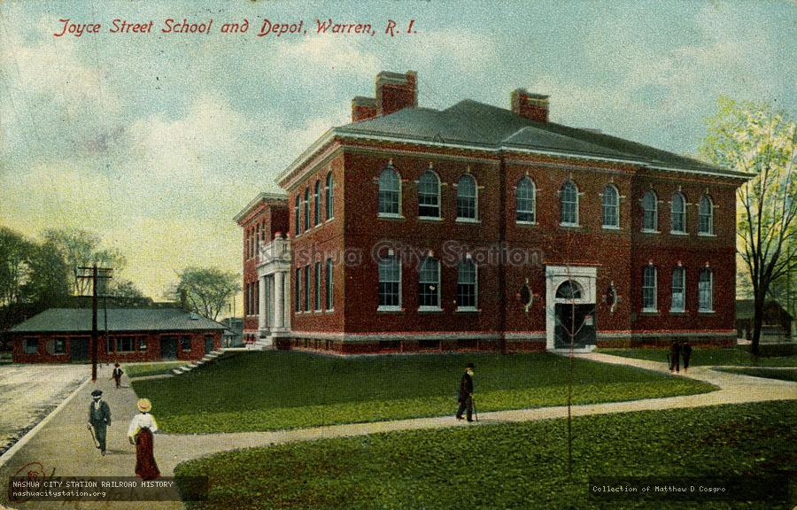 Postcard: Joyce Street School and Depot, Warren, RI