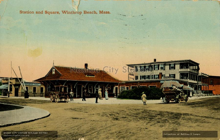Postcard: Station and Square, Winthrop Beach, Massachusetts