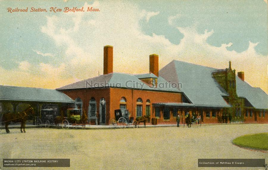 Postcard: Railroad Station, New Bedford, Massachusetts
