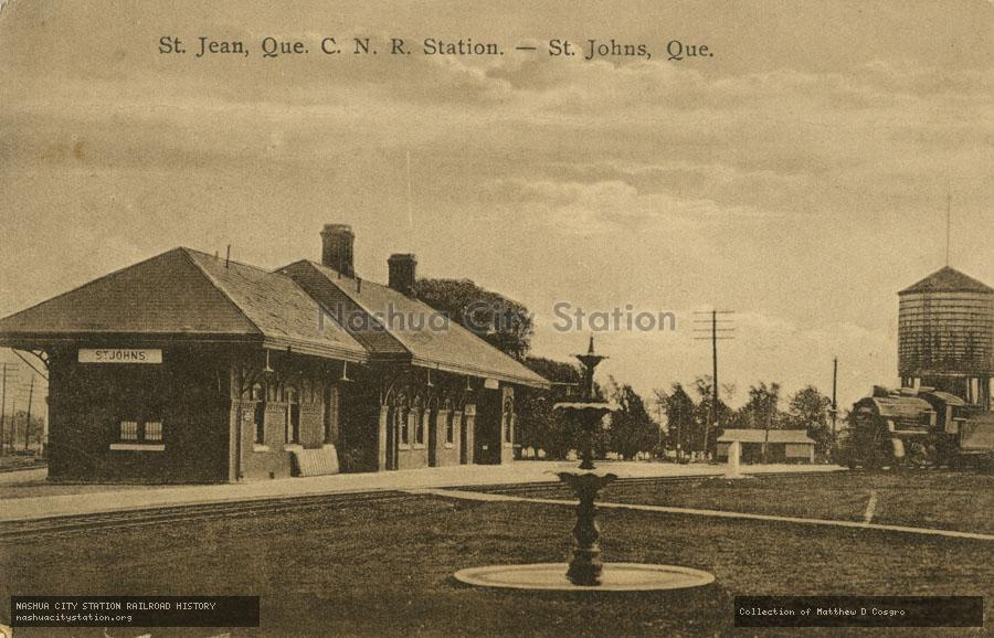 Postcard: St. Jean, Quebec, Canadian National Railways Station - St. Johns, Quebec
